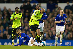 LIVERPOOL, ENGLAND - Thursday, April 17, 2008: Everton's captain Phil Neville and Chelsea's Nicolas Anelka during the Premiership match at Goodison Park. (Photo by David Rawcliffe/Propaganda)