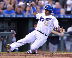 June 30, 2017 - Kansas City, MO, USA - The Kansas City Royals' Salvador Perez scores on a single by Alcides Escobar in the fourth inning against the Minnesota Twins at Kauffman Stadium in Kansas City, Mo., on Friday, June 30, 2017. (Credit Image: © John Sleezer/TNS via ZUMA Wire)