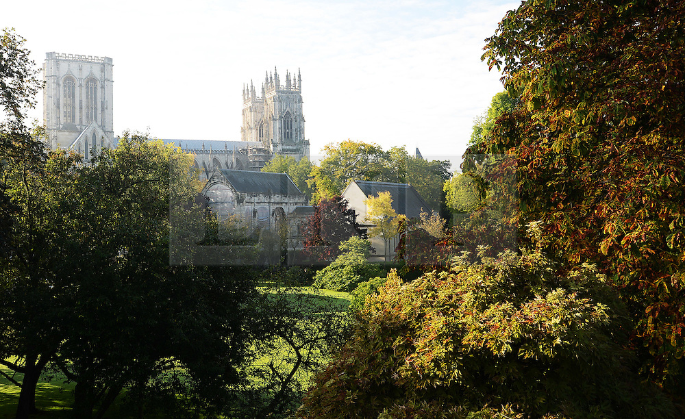 © Licensed to London News Pictures. 09/10/2015. York, UK. The autumn colours begin to show in the gardens surrounding York Minster, York. Photo credit : Anna Gowthorpe/LNP