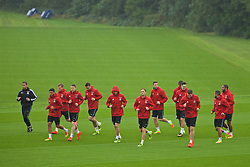 CARDIFF, WALES - Saturday, September 3, 2016: Wales' Andy King and his team-mates during a training session at the Vale Resort ahead of the 2018 FIFA World Cup Qualifying Group D match against Moldova. (Pic by David Rawcliffe/Propaganda)