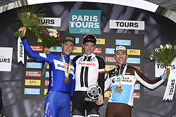 October 7, 2018 - Tours, France - Tours, France - October 7 : TERPSTRA Niki (NED) of Quick - Step Floors, NDERSEN Soren Kragh of Team Sunweb, COSNEFROY Benoit of AG2R La Mondiale during the 112th edition of the Paris - Tours Elite cycling race with start in Chartres and finish in Tours on October 7, 2018 in Tours, France, 07/10/2018 (Credit Image: © Panoramic via ZUMA Press)