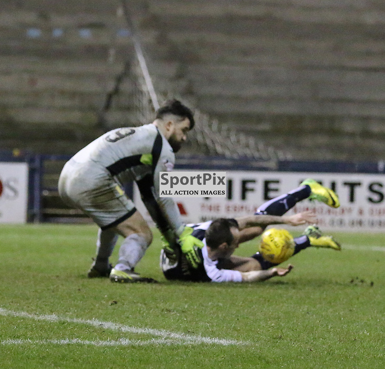 Stewart Falls in box during the Raith Rovers v Dumbarton  Scottish Championship 23 January 2016<br /> <br /> (c) Andy Scott | SportPix.org.uk