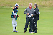 Mark Calcavecchia shakes hands with Andrew Oldcorn on the 18th green after the final round of the Rolex Senior Golf Open at St Andrews, West Sands, Scotland on 29 July 2018. Picture by Malcolm Mackenzie.