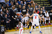Golden State Warriors forward David West (3) saves a loose ball against the LA Clippers at Oracle Arena in Oakland, California, on February 22, 2018. (Stan Olszewski/Special to S.F. Examiner)