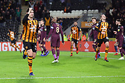 GOAL Hull City defender Tommy Elphick (35) rises above the Swansea defence to head his side into the lead 2-1 and then celebrates during the EFL Sky Bet Championship match between Hull City and Swansea City at the KCOM Stadium, Kingston upon Hull, England on 22 December 2018.