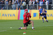Gloucester back row Ruan Ackermann (6) warming up before the Aviva Premiership match between Bath Rugby and Gloucester Rugby at the Recreation Ground, Bath, United Kingdom on 29 October 2017. Photo by Gary Learmonth.