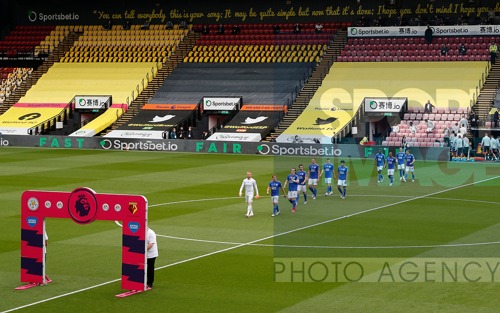 Leicester City make their way out into the stadium during the Premier League match at Vicarage Road, Watford. Picture date: 20th June 2020. Picture credit should read: Darren Staples/Sportimage