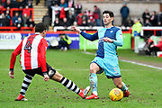 Joe Jacobson (3) of Wycombe Wanderers is challenged by Lloyd James (4) of Exeter City during the EFL Sky Bet League 2 match between Exeter City and Wycombe Wanderers at St James' Park, Exeter, England on 10 February 2018. Picture by Graham Hunt.