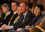 © Licensed to London News Pictures. 10/03/2013. Brighton, UK. Tim Farron watches Nick Clegg, Liberal Democrat Leader and Deputy Prime Minister as he delivers his keynote speech to the Liberal Democrat Spring Conference in Brighton today 10th March 2013. Photo credit : Stephen Simpson/LNP