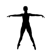 Digitally enhanced image of a silhouette of a female Ballet Dancer as she balances on her toes with outstretched hands