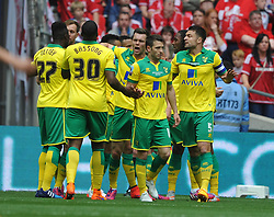 Norwich Celebrate their first Goal by Cameron Jerome, Middlesbrough v Norwich, Sky Bet Championship, Play Off Final, Wembley Stadium, Monday  25th May 2015