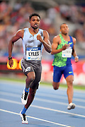 Noah Lyles (USA) wins the 200m in a meet record 19.65 to ellipse the time of 19.73 by Usain Bolt (JAM) in 2013 during the Meeting de Paris, Saturday, Aug. 24, 2019, in Paris. (Jiro Mochizuki/Image of Sport via AP)