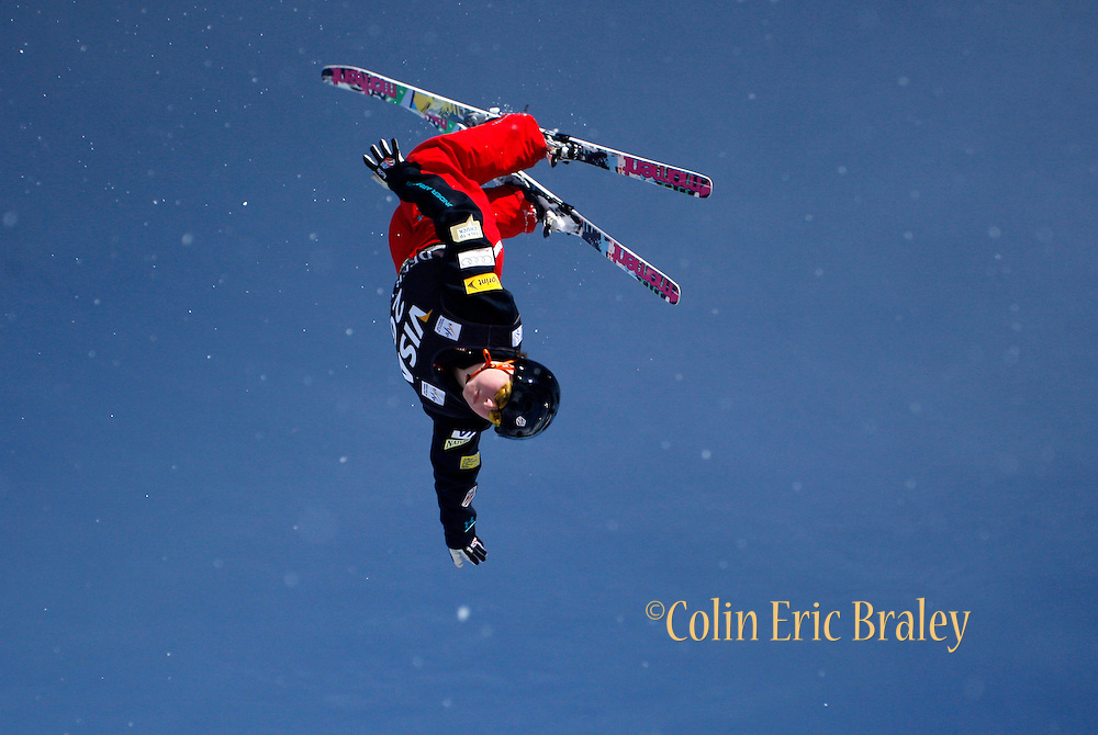 during the qualifying round in the women's World Cup freestyle aerials event at the Deer Valley Resort, Friday, Jan. 15, 2010, in Park City, Utah. (AP Photo/Colin E Braley).