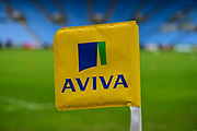 Aviva branded in touch flag during the Aviva Premiership match between Wasps and Exeter Chiefs at the Ricoh Arena, Coventry, England on 18 February 2018. Picture by Dennis Goodwin.