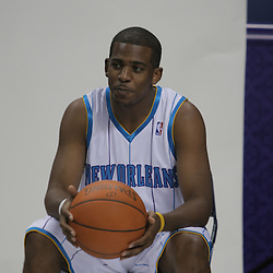 26 September 2008:  Chris Paul prepares to take his team head shot during media day for the New Orleans Hornets at the New Orleans Arena in New Orleans, LA.