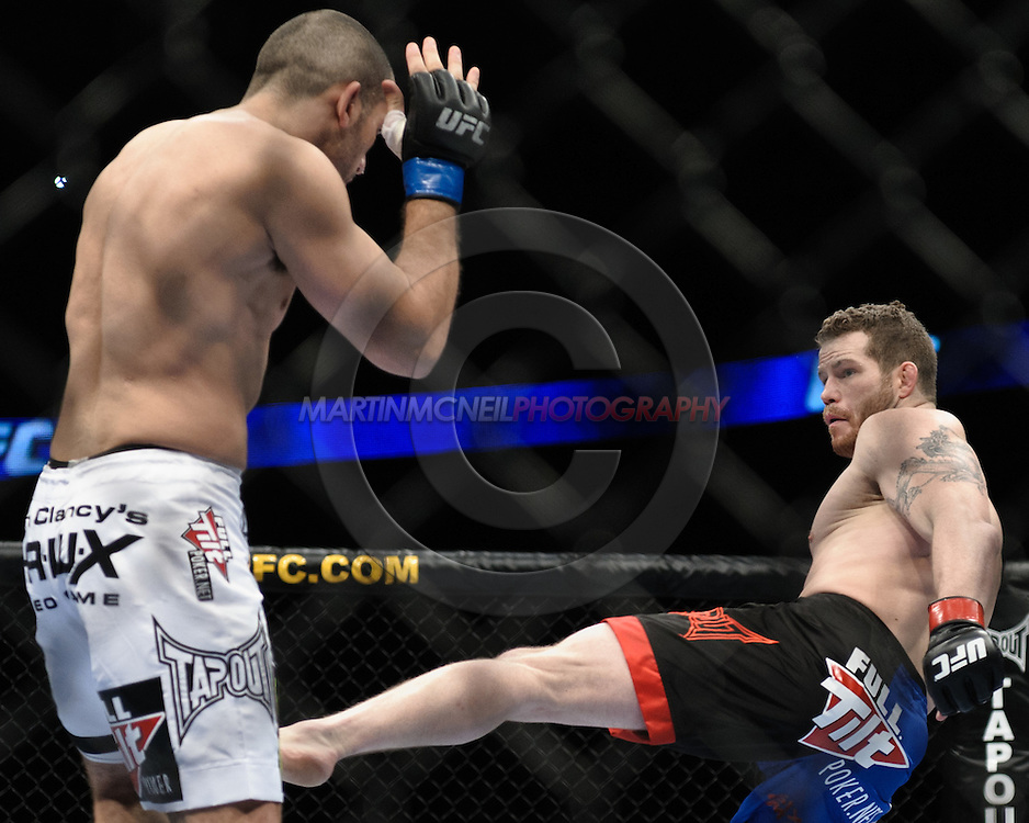 """LONDON, ENGLAND, FEBRUARY 21, 2009: Wilson Gouveia (left) and Nate Marquardt during """"UFC 95: Sanchez vs. Stevenson"""" inside the O2 Arena in Greenwich, London."""