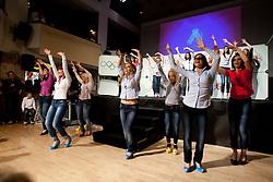 Girls dance during event Miss Sports of Slovenia 2012, on April 21, 2012, in Festivalna dvorana, Ljubljana, Slovenia. (Photo by Urban Urbanc / Sportida.com)