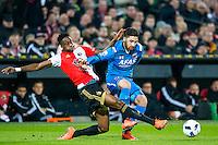 ROTTERDAM - 03-03-2016, Feyenoord - AZ, stadion de Kuip, Feyenoord speler Terence Kongolo, AZ speler Alireza Jahanbakhsh