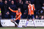Luke Wilkinson of Luton Town celebrates scoring his team's second goal against Cambridge United to make it 2-0 with Andy Drury of Luton Town (right) during the Sky Bet League 2 match at Kenilworth Road, Luton<br /> Picture by David Horn/Focus Images Ltd +44 7545 970036<br /> 31/01/2015