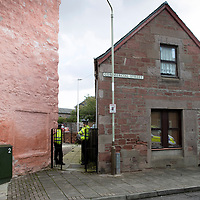 Officers from Police Scotland pictured outside a property on Commercial Street in Coupar Angus after an early morning incident….30.09.17  <br />Picture by Graeme Hart.<br />Copyright Perthshire Picture Agency<br />Tel: 01738 623350  Mobile: 07990 594431
