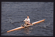 London. United Kingdom. Chris ANDREWS, 1990 Scullers Head of the River Race. River Thames, viewpoint Chiswick Bridge Saturday 07.04.1990<br /> <br /> [Mandatory Credit; Peter SPURRIER/Intersport Images] 19900407 Scullers Head, London Engl