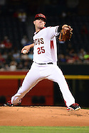 PHOENIX, AZ - JUNE 08:  Archie Bradley #25 of the Arizona Diamondbacks delivers a pitch against the Tampa Bay Rays duirng the first inning at Chase Field on June 8, 2016 in Phoenix, Arizona. The Tampa Bay Rays won 8-6.  (Photo by Jennifer Stewart/Getty Images)