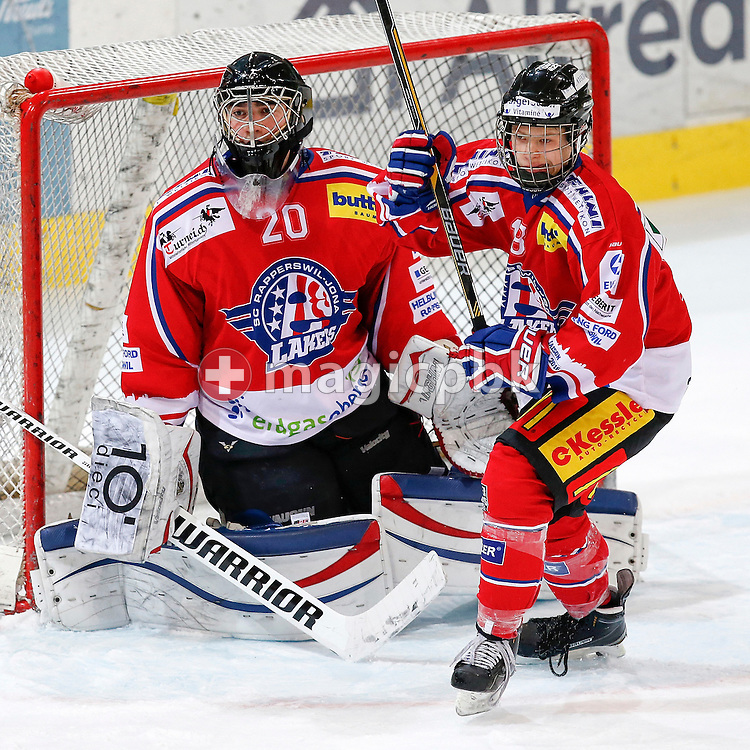 Rapperswil-Jona Lakers goaltender Beat TRUDEL (L) and defenseman Terry SCHNYDER are pictured during a Novizen Elite ice hockey game between Rapperswil-Jona Lakers and SC Bern Future held at the Diners Club Arena in Rapperswil, Switzerland, Saturday, Feb. 6, 2016. (Photo by Patrick B. Kraemer / MAGICPBK)