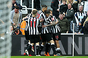 Kenedy (#15) of Newcastle United celebrates Newcastle United's first goal (1-0) with Newcastle United teammates during the Premier League match between Newcastle United and Southampton at St. James's Park, Newcastle, England on 10 March 2018. Picture by Craig Doyle.