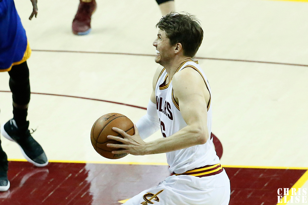 07 June 2017: Cleveland Cavaliers guard Kyle Korver (26) goes for the dunk during the Golden State Warriors 118-113 victory over the Cleveland Cavaliers, in game 3 of the 2017 NBA Finals, at  the Quicken Loans Arena, Cleveland, Ohio, USA.