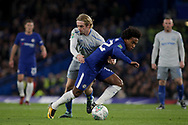 Willian of Chelsea and Tom Davies of Everton battle for the ball.<br /> EFL Carabao Cup 4th round match, Chelsea v Everton at Stamford Bridge in London on Wednesday 25th October 2017.<br /> pic by Kieran Clarke, Andrew Orchard sports photography.
