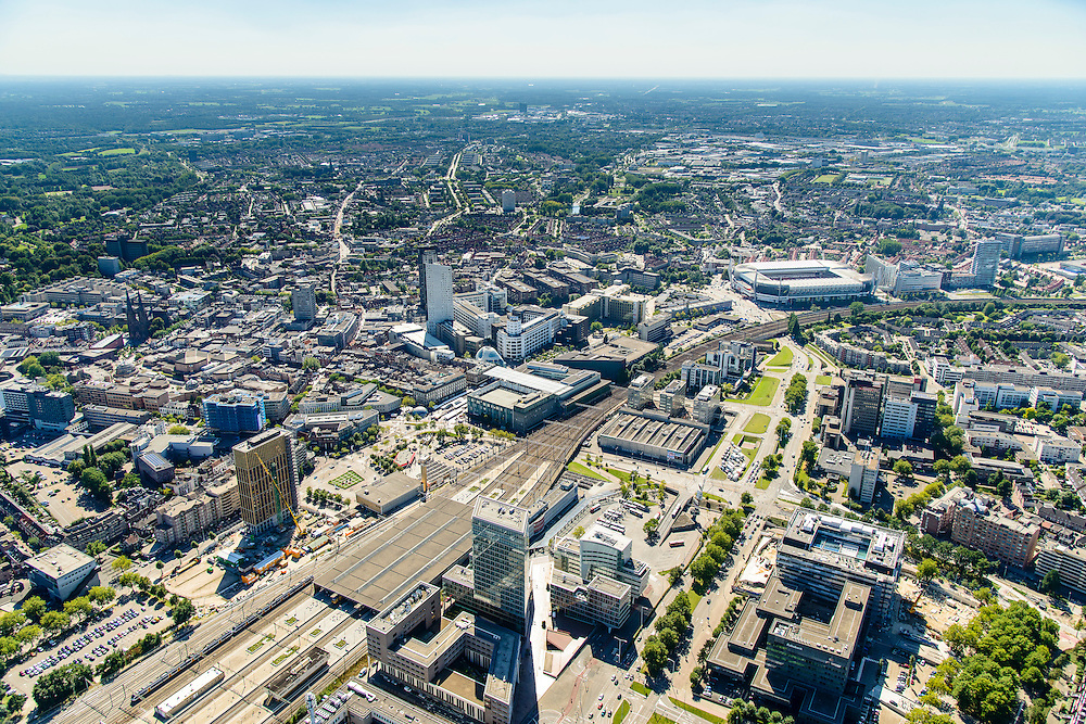 Nederland, Noord-Brabant, Eindhoven, 23-08-2016; station Eindhoven met directe omgeving.<br /> Downtown area with central station and immediate environment.<br /> luchtfoto (toeslag op standard tarieven);<br /> aerial photo (additional fee required);<br /> copyright foto/photo Siebe Swart