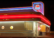 66 Diner on Central Avenue, Albuquerque, NM. Central Ave. is part of the historic Route 66. The diner a combination of 1950's kitsch, southwest stucco, neon, and Art Deco.