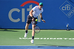 August 1, 2018 - Washington, D.C, U.S - KYLE EDMUND hits a serve during his 2nd round match at the Citi Open at the Rock Creek Park Tennis Center in Washington, D.C. (Credit Image: © Kyle Gustafson via ZUMA Wire)