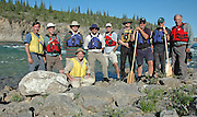 NORMAN WELLS, NWT. July 23, 2011.  <br /> EXCLUSIVE<br /> HRH Duke of York is shown during a 12 day canoe trip on the Horton River in the Sahtu Region of the NWT  with old friends from Lakefield College School, their fifth trip together since 1977. He later officiated in the Celebrate Sahtu event in Norman Wells, NWT.  The canoe trip was organized by Canoe North Adventures, which is located in Norman Wells at the North-Wright Air float base where the celebration  was held. HRH is Patron of the Canadian Canoe Museum in Peterborough, ON and encourages Canadian to discover their wonderful northland. The Sahtu Region of the NWT is the site of his last two canoe trips. <br /> In this photo L-R Top row: David Thompson, Hillary Abbott, HRH The Duke of York, Donald Grant, Nick Lewis, Geoff Heseltine, Nick Dale, Al Pace, Alex McCubbin, and former Lakefield Headmaster Terry Guest.  <br /> ©Michael Peake/Exclusivepix