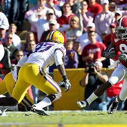 November 6, 2010; Baton Rouge, LA, USA; Alabama Crimson Tide wide receiver Julio Jones (8) runs after a catch during the first half against the LSU Tigers at Tiger Stadium.  Mandatory Credit: Derick E. Hingle