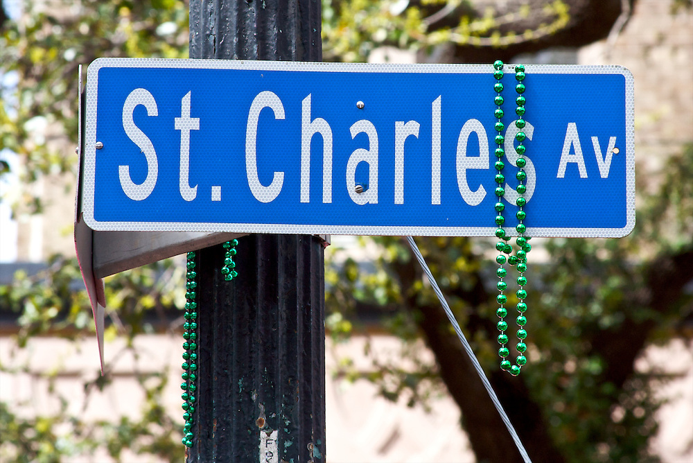 St. Charles Avenue Street Sign, Mardi Gras Parade Route, New Orleans, LA