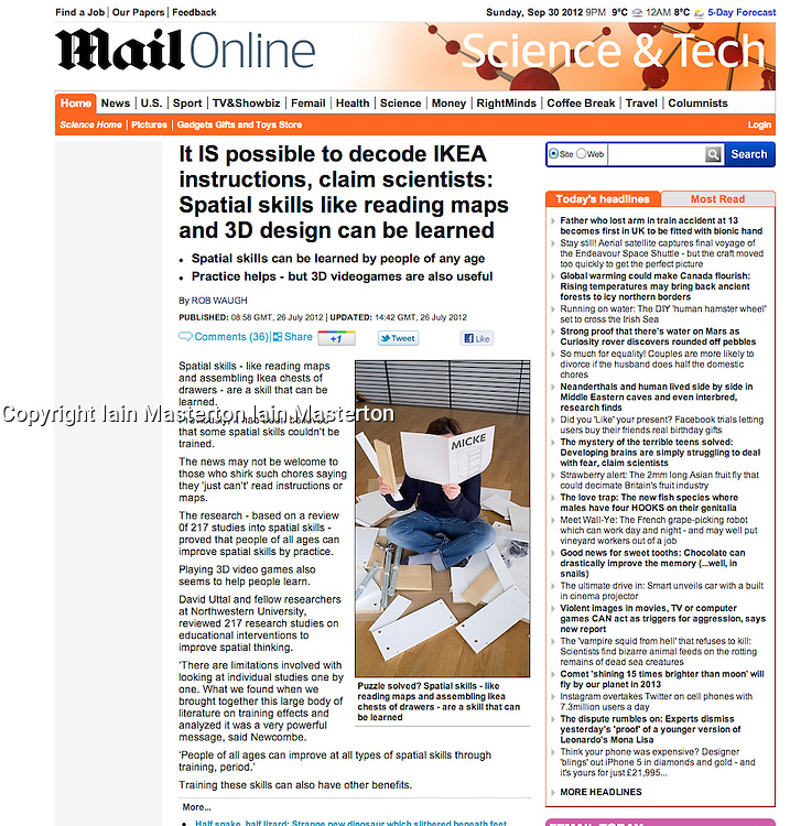 Mail Online; Woman assembling IKEA  flatpack furniture