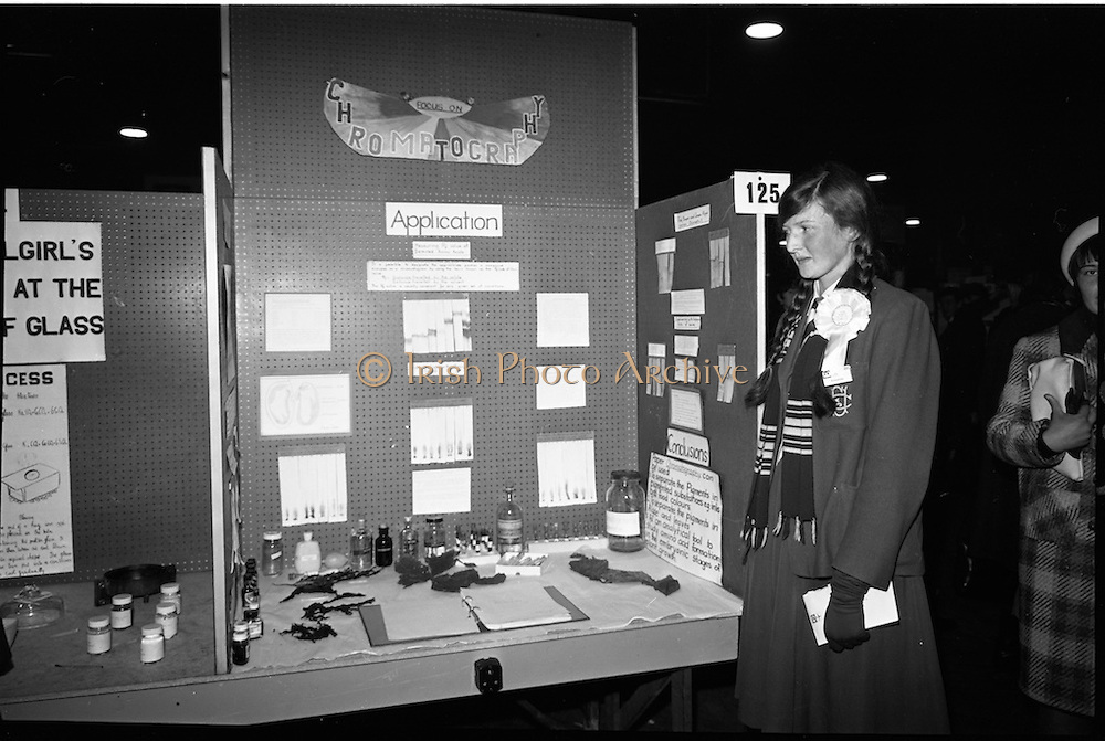04/01/1967.01/04/1967.4th January 1967 .The third annual Aer Lingus Young Scientist Exhibition at the RDS..Bridget Dwyer, F.C.J Convnet, Bunclody, Co. Wexford (2nd runner up) with her exhibit 'Focus on Chromatography'. ....