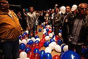 Balloons on the floor at the Serbian Progressive Party (SNS) congress at Sava Center in Belgrade, Serbia. May 15, 2012...Matt Lutton for The Wall Street Journal.BELGRADE