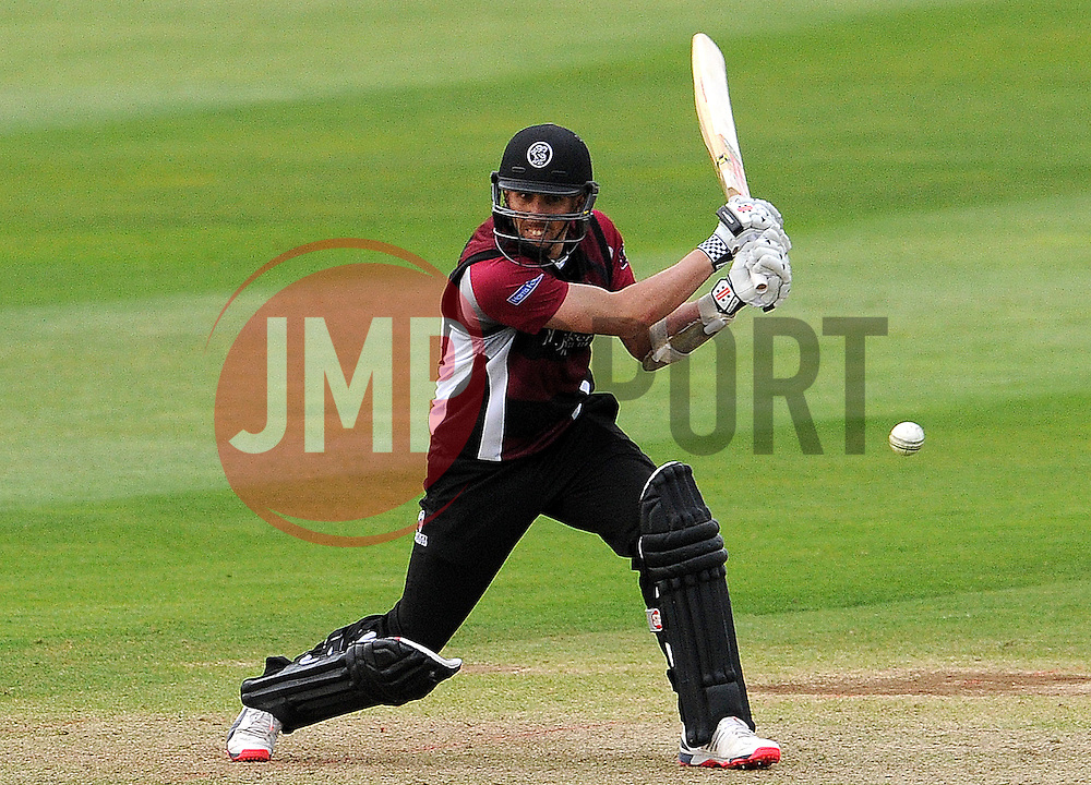 Somerset's Tom Cooper drives the ball. Photo mandatory by-line: Harry Trump/JMP - Mobile: 07966 386802 - 22/05/15 - SPORT - CRICKET - Natwest T20 Blast - Somerset v Sussex Sharks - The County Ground, Taunton, England.
