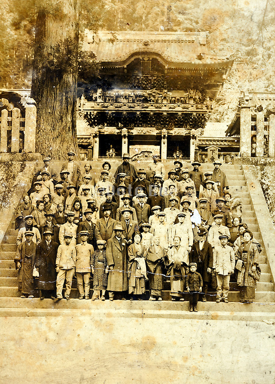 tourist group in front of the Nikko Toshogu Shrine vintage Japan