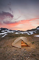 Alpenglow over Mount Baker, 10,781 ft (3,286 m) and backcountry campsite, Mount Baker Wilderness Washington