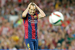30.05.2015, Camp Nou, Barcelona, ESP, Copa del Rey, Athletic Club Bilbao vs FC Barcelona, Finale, im Bild FC Barcelona's Andres Iniesta // during the final match of spanish king's cup between Athletic Club Bilbao and Barcelona FC at Camp Nou in Barcelona, Spain on 2015/05/30. EXPA Pictures &copy; 2015, PhotoCredit: EXPA/ Alterphotos/ Acero<br /> <br /> *****ATTENTION - OUT of ESP, SUI*****