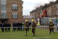 Riot police and fire service called in to evicting 21 houses of squatters in St. Agnes Place Kennington after 30 years of squatting the street.