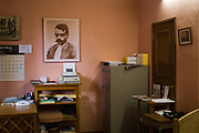 A portrait of Emiliano Zapata, a famed leader in the Mexican Revolution, looks on in the office of Uniterra, an open University in Oaxaca city.
