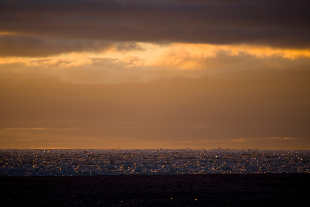 February 13th 2007. Southern Ocean. Sea ice floats in the twilight of the Ross Sea.