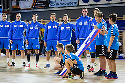 Slovenian team during anthem ceremony before friendly handball match between Slovenia and Nederland, on October 25, 2019 in Športna dvorana Hardek, Ormož, Slovenia. Photo by Blaž Weindorfer / Sportida