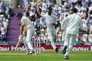 Wicket - Hardik Pandya of India celebrates taking the wicket of Alastair Cook of England during the first day of the 4th SpecSavers International Test Match 2018 match between England and India at the Ageas Bowl, Southampton, United Kingdom on 30 August 2018.