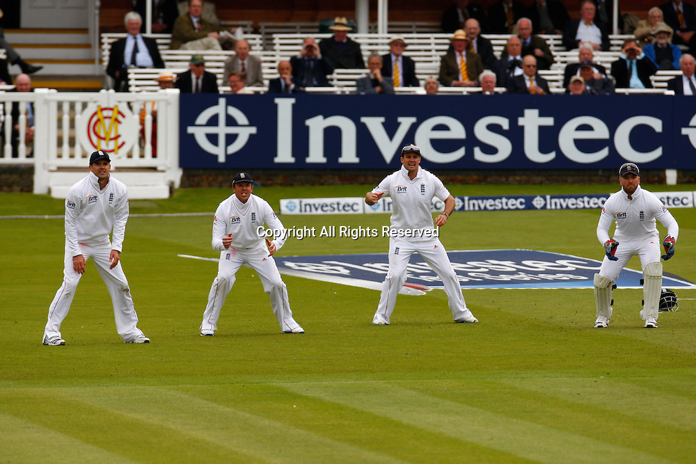 17.05.12 Lords,London, ENGLAND: <br /> Left to Right James Anderson of England  Graeme Swann of England  Andrew Strauss of England and Matt Prior of England during the Investec First Test ( 1st Day of 5 )between England and West Indies