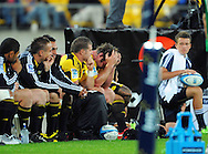 Hurricanes captain Andrew Hore holds his head in his hands. Super 15 rugby match - Hurricanes v Highlanders at Westpac Stadium, Wellington, New Zealand on Friday, 18 February 2011. Photo: Dave Lintott/PHOTOSPORT